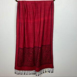 Cashmere Silk Pashmina Scarf Rectangular Red Black